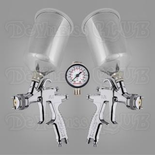 Набор краскопультов DeVilbiss FLG-5 (с алюминиевыми бачками) + регулятор давления