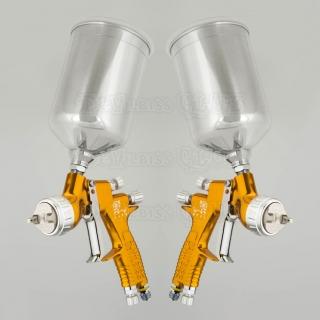 Набор краскопультов DeVilbiss GTi Pro Lite Gold (с алюминиевыми бачками) + регулятор давления